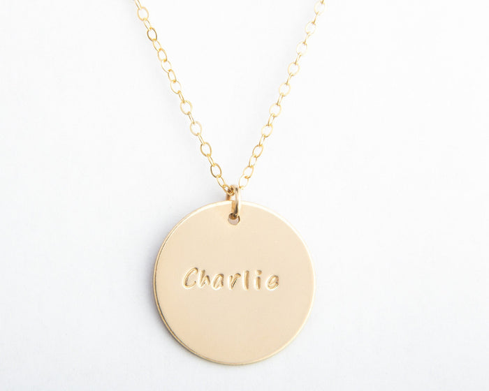 large gold round disc name necklace pixley pressed