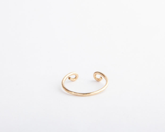gold adjustable open curve ring pixley pressed