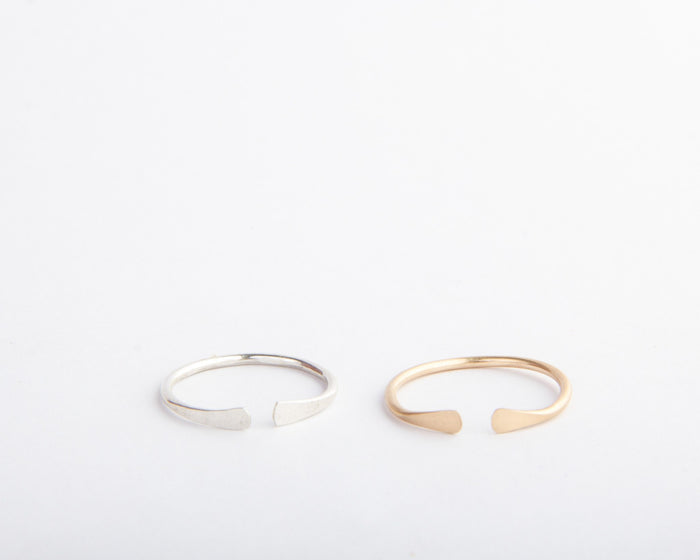gold or silver open adjustable band pixley pressed