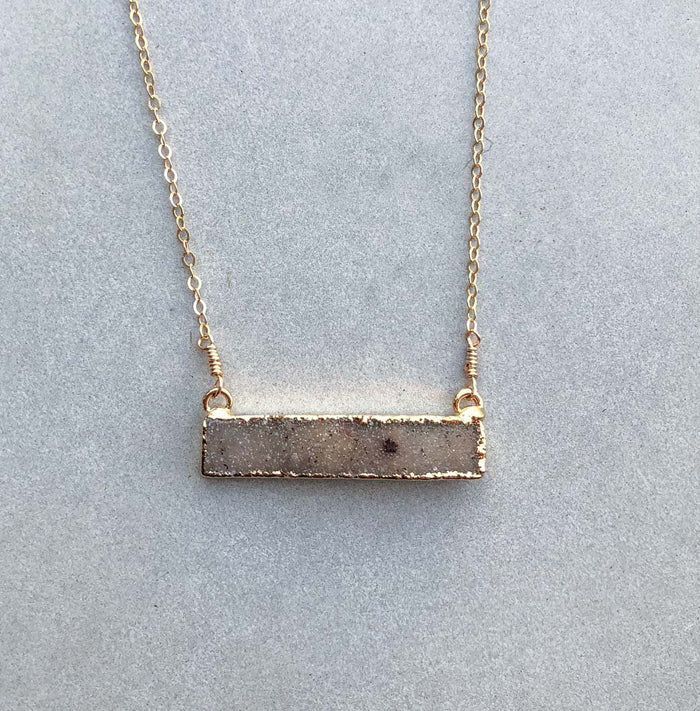 Peach Druzy Bar Necklace