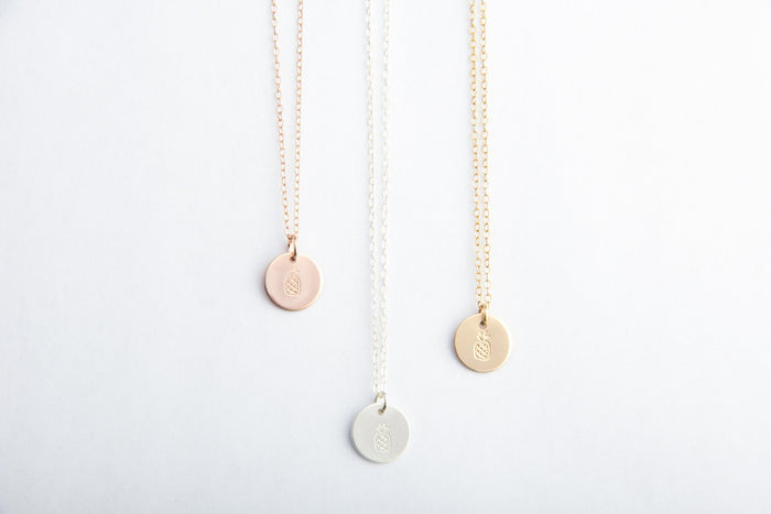 rose gold silver gold filled pineapple necklaces pixley pressed