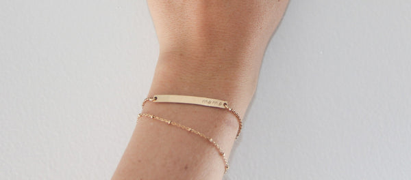 gold satellite chain bracelet skinny bar bracelet pixley pressed