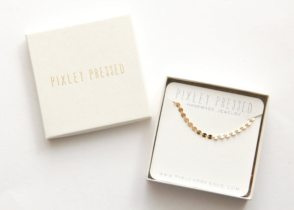 sequin choker pixley pressed packaging