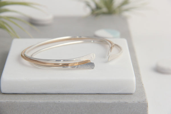 mix and match gold and silver bangle bracelets pixley pressed