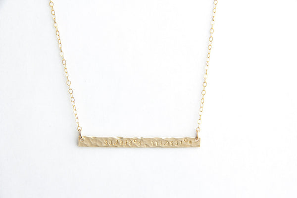 long skinny bar hammered coordinates necklace pixley pressed