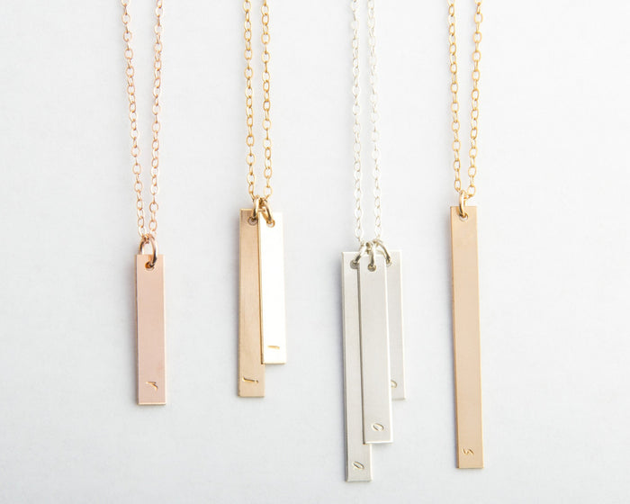 skinny vertical bar necklaces rose gold sterling silver gold filled pixley pressed