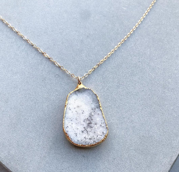 'Snow Leopard' Druzy Necklace