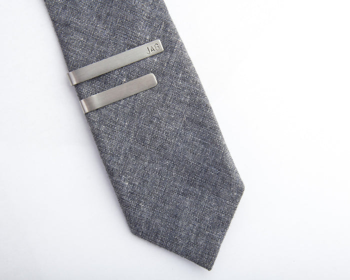 stainless steel tie clip personalized initials pixley pressed