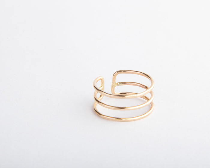 gold triple stack ring pixley pressed