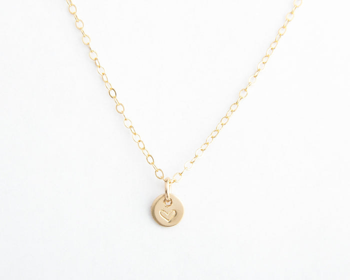tiny gold heart disc necklace pixley pressed