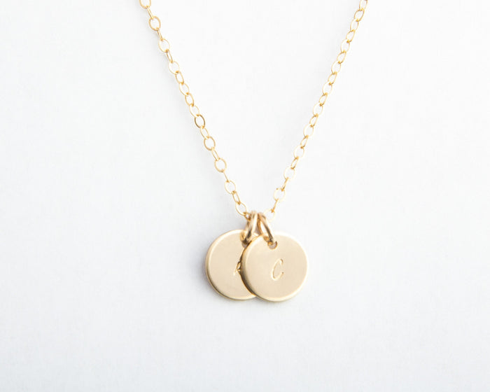 two initial necklace gold filled pixley pressed