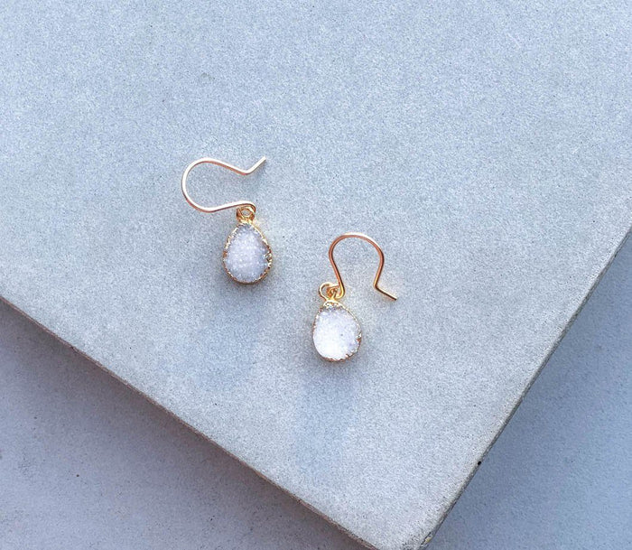white druzy earrings