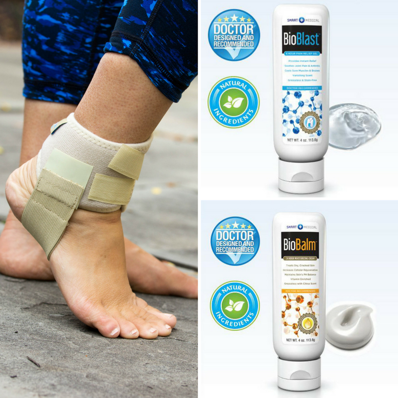 Trio Bundle Pack: Heelaway Sport Brace, BioBlast™ 6-Hour Pain Gel, & BioBalm™ 24-Hour Moisturizing Repair Cream