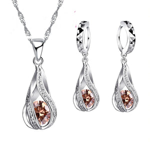 Color Crystal Sterling Silver Jewelry Sets