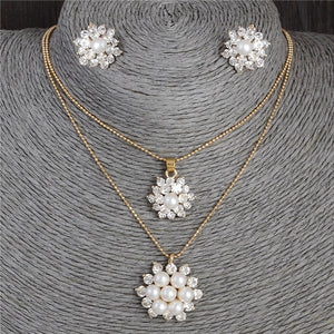 Snowflake Simulated Pearl Jewelry Set