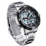 Stainless Steel Quartz LED Watch