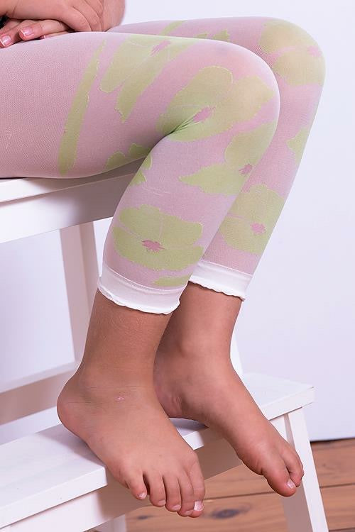 Green Floral Footless Stockings