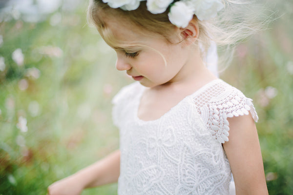 lace sleeves butterfly pattern white tutu dress young girl flower girl dress