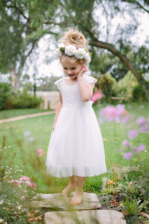 flower girl dress for baby or toddler for christening white tutu dress