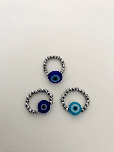 Hermatite Stone Evil Eye Stretch Ring