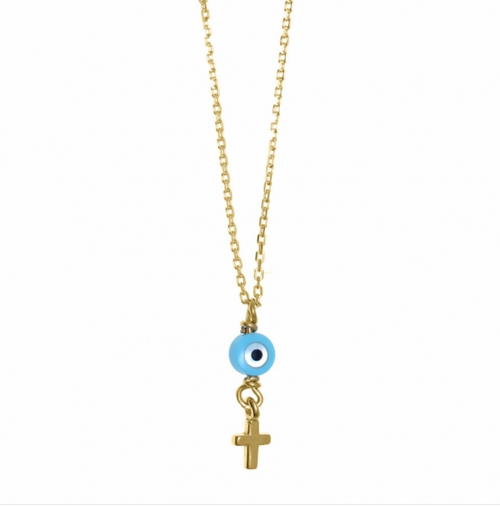 Mini Mati + Cross Gold Necklace
