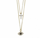 Double Layer Cubic Ziconia Mati + Cross Necklace