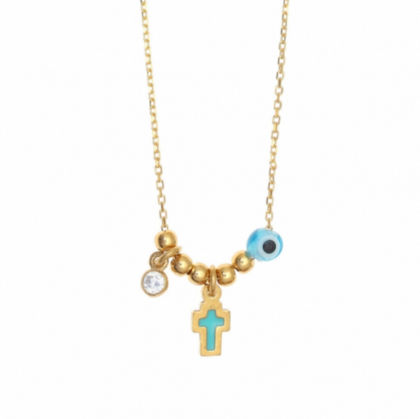 Mini Cross + Mati Gold Necklace PREORDER