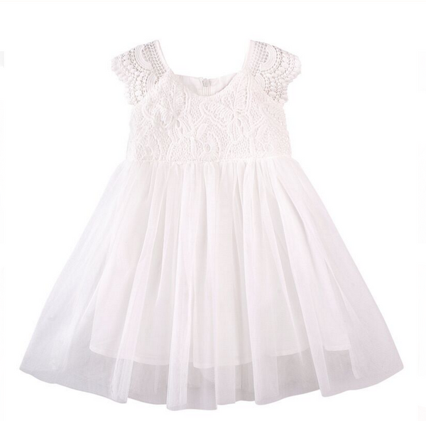 Designer Kidz ivory lace tutu flower girl dress for wedding and christening
