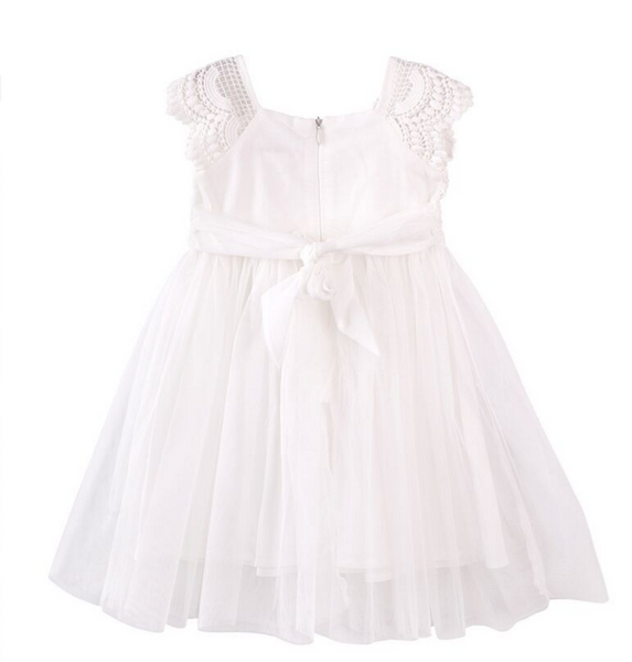 Bridal ivory tutu flower girl dress for wedding and christening tie back lace cap sleeves