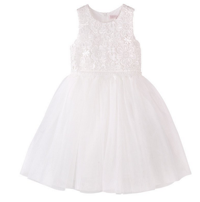 Designer Kidz flower girl dress tutu white ivory lace dress for wedding and communion and christening