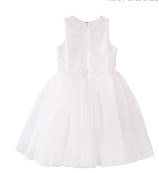 ivory White lace sleeveless tutu flowergirl dress for young girl for wedding and communion