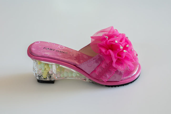 Summer lace exclusive pink sparkle beaded funky shoez for children