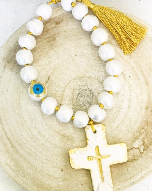 Handmade Ceramic Beaded Cross - Small