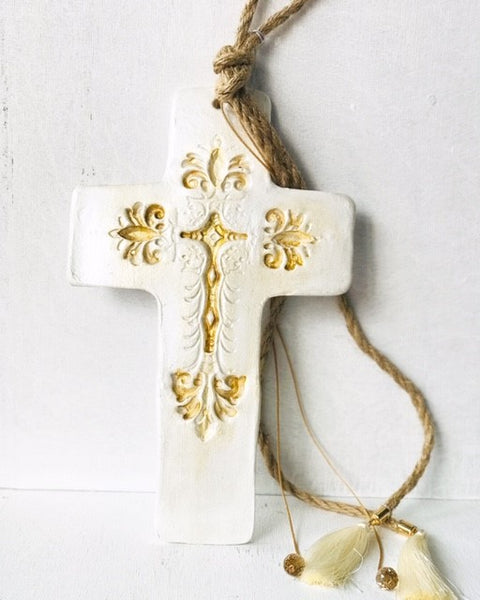 Handmade Ceramic Cross with Gold Detail