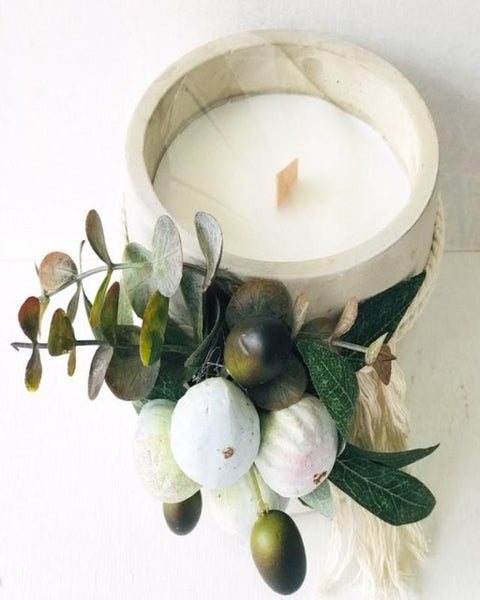 Rustic Fig Candle with Cement Pot