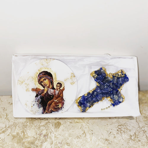 Mother Mary & Jesus Icon & Blue Quartz Cross