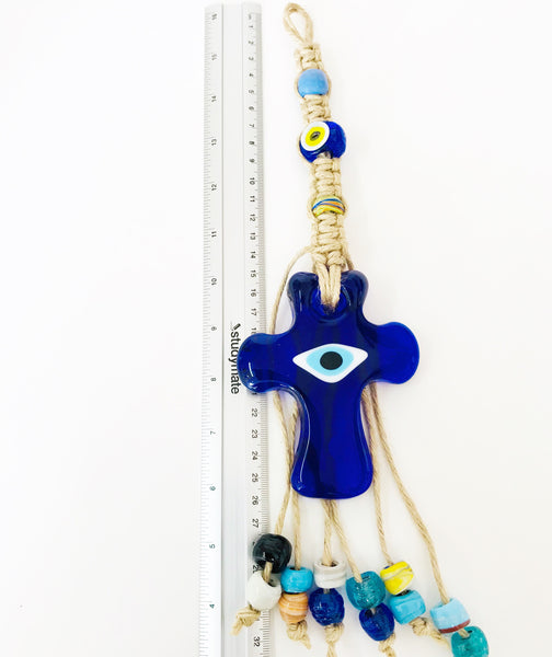 Glass Cross with Evil Eye Wall Decor