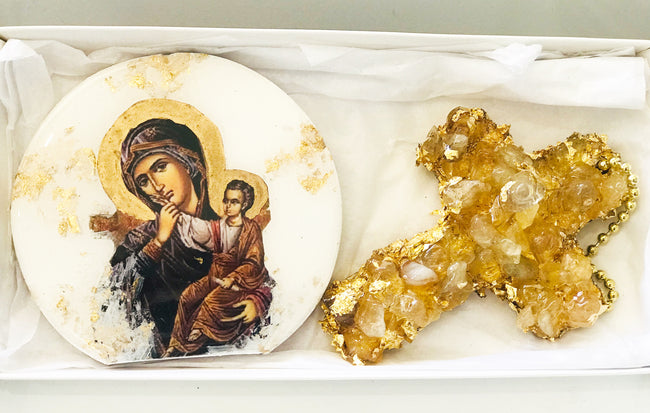 Mother Mary Icon & Citrine Gemstone Cross