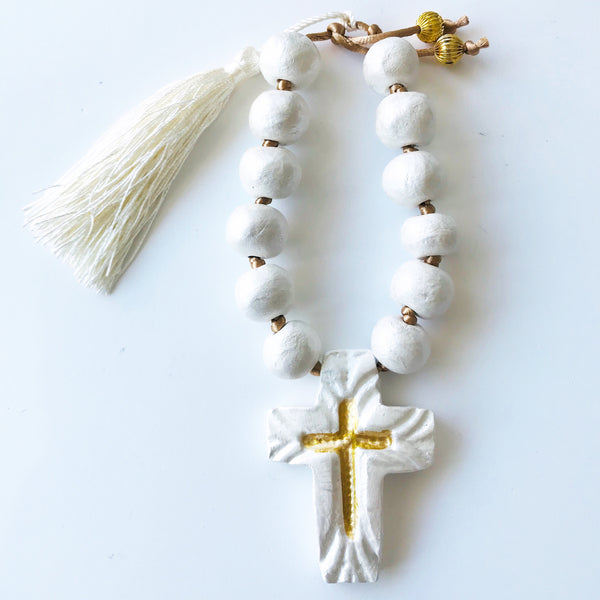 Handmade Ceramic White & Gold Beaded Cross