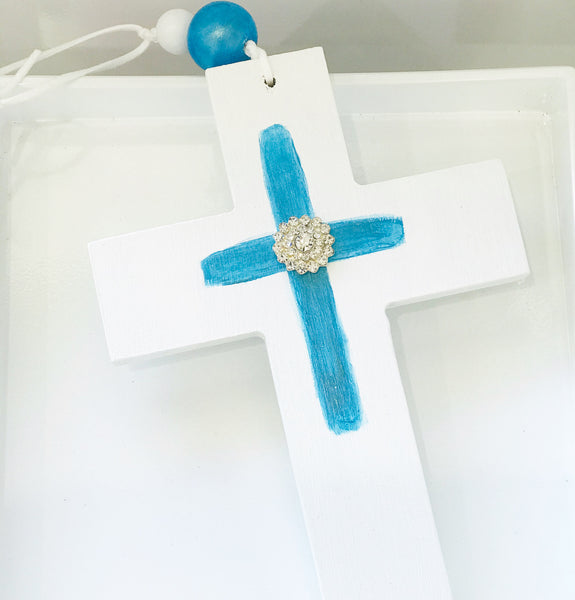 Handmade Wooden Bling Cross - Blue