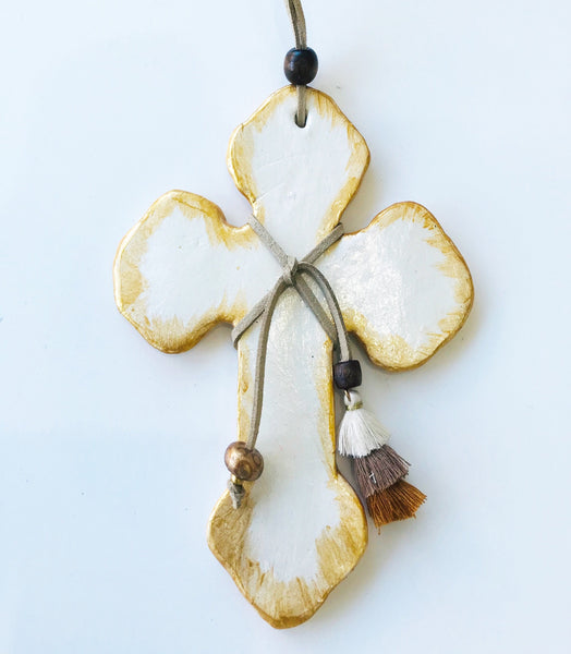 Handmade Ceramic White and Gold Cross