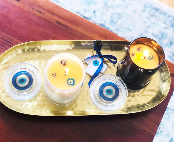 mati bead candle mati floating candle evil eye candle