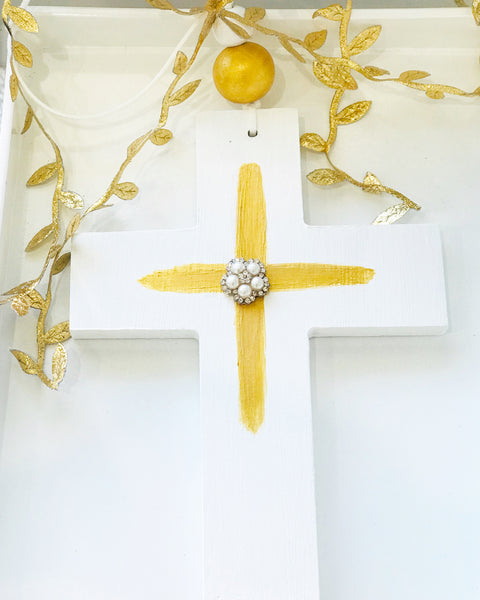 Handmade Wooden Bling Cross - Gold