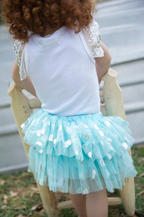 1st birthday blue tuelle silver spot tutu skirt for baby