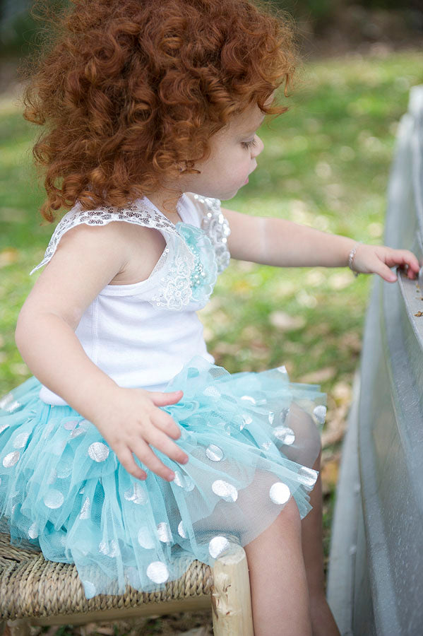 Aqua silver spot tutu skirt for newborn and toddler first birthday party