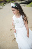 Designer Kidz flower girl lace tutu ivory special occasion dress for wedding and communion