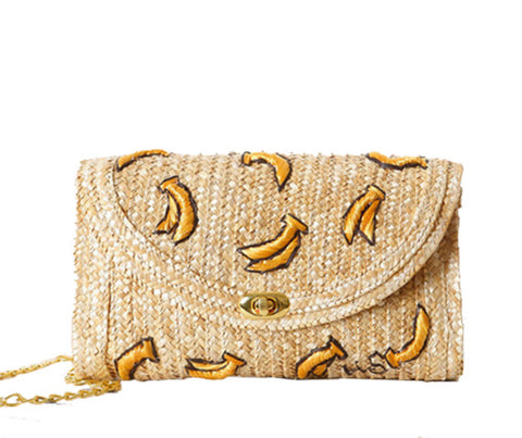Banana Print Straw Clutch