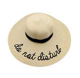 'Do Not Disturb' Wide Brim Straw Beach Hat