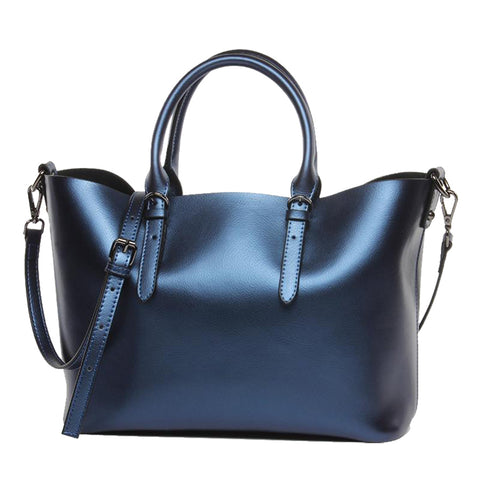 Large Metallic Leather Tote Bag