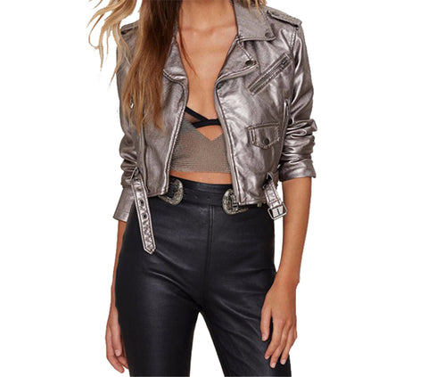 Metallic Silver Faux Leather Motorcycle Jacket